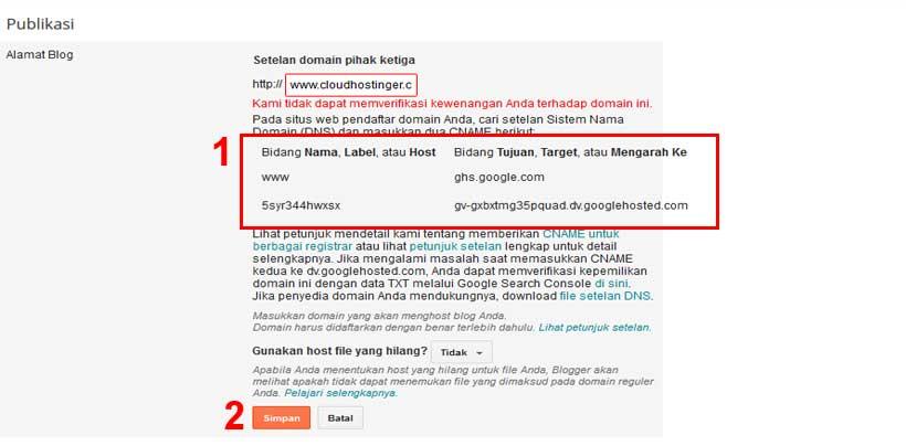 cname dan a record domain blogspot