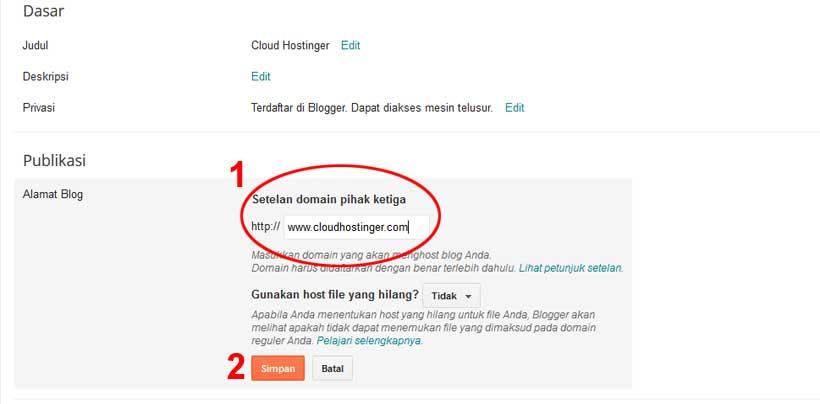 rubah dan menambahkan domain blogspot