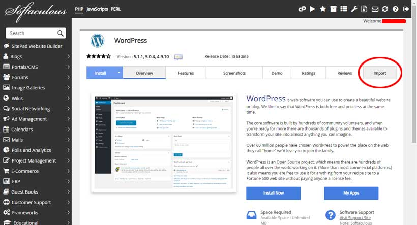 mengimpor instalasi wordpress